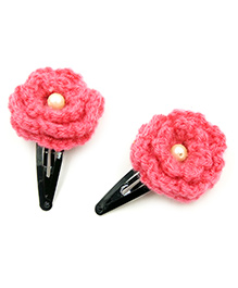 Magic Needles Tic Tac Hair Clips With Flower Set Of 2 - Dark Pink