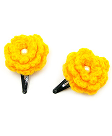 Magic Needles Tic Tac Hair Clips With Flower Set Of 2 - Bright Yellow
