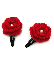 Magic Needles Tic Tac Hair Clips With Flower Set Of 2 - Red
