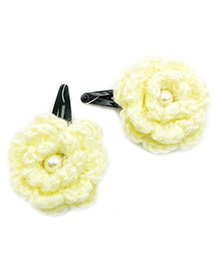 Magic Needles Tic Tac Hair Clips With Flower Set Of 2 - Lemon Yellow