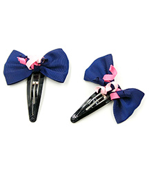 Magic Needles Tic Tac Hair Clips With Bows & Frills Set Of 2 - Navy