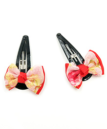 Magic Needles Tic Tac Hair Clips With Bows & Net Set Of 2 - Red
