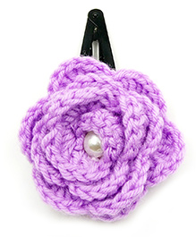 Magic Needles Tic Tac Hair Clips With Big Crochet Rose - Purple