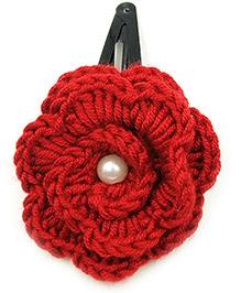 Magic Needles Tic Tac Hair Clips With Big Crochet Rose - Maroon