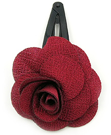 Magic Needles Tic Tac Hair Clips With Rose - Maroon