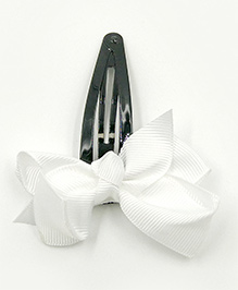 Magic Needles Tic Tac Hair Clips With Bow - White