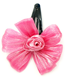 Magic Needles Tic Tac Hair Clips With Flower - Pink