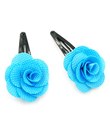 Magic Needles Tic Tac Hair Clips With Rose Set Of 2 - Blue