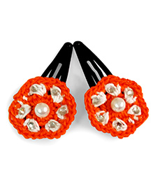 Creative Crochet Knitted Crochet Flower Hair Clip - White And Orange