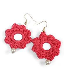 Creative Crochet Knitted Crochet Flower Earring - Pink