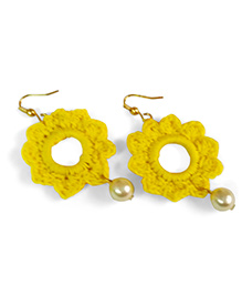 Creative Crochet Knitted Crochet Flower Earring - Yellow