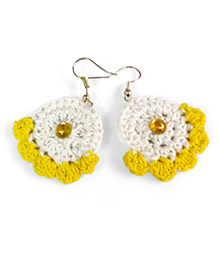 Creative Crochet Knitted Crochet Frill Earring - White And Yellow