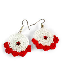 Creative Crochet Knitted Crochet Frill Earring - White And Red