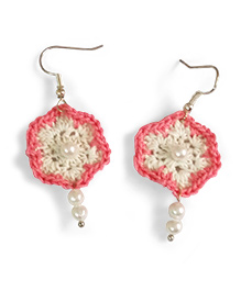 Creative Crochet Knitted Crochet Flower With Bead Earring - White And Pink