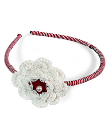 Creative Crochet Knitted Crochet Flower Hairband - White And Pink - 1550448