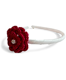 Creative Crochet Knitted Crochet Flower Hairband - White And Pink