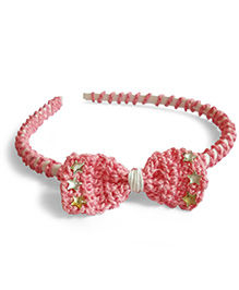 Creative Crochet Knitted Crochet Bow Hairband - Pink In White Hairband