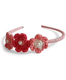 Creative Crochet Knitted Crochet 3 Flowers Hairband - White And Pink
