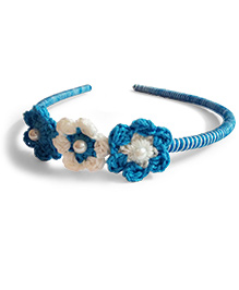 Creative Crochet Knitted Crochet 3 Flowers Hairband - White And Blue
