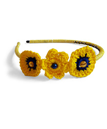Creative Crochet Knitted Crochet 3 Flowers Hairband - Yellow White With Blue