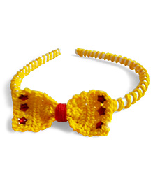 Creative Crochet Knitted Crochet Bow Hairband - Yellow White With Red