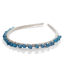 Creative Crochet Knitted Bead Hairband - White And Blue Beads