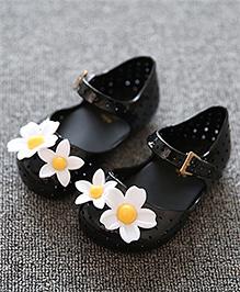 Mini Sed Sandals Floral Applique - Black