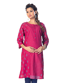 Kriti Three Fourth Sleeves Maternity Nursing Kurti - Pink
