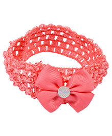 Miss Diva Shiny Bow Soft Headband - Coral