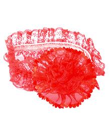 Miss Diva Net Flower Soft Headband - Red