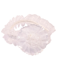 Miss Diva Net Flower Soft Headband - White