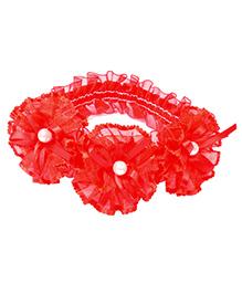Miss Diva 3 Pearl Studded Flowers Soft Headband - Red