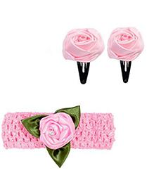 Miss Diva Leafy Rose Design Headband & Tic Tac Set - Light Pink