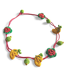 Samoolam Crafts Crochet Fruit Design Necklace - Yellow Green & Pink