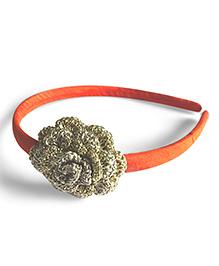 Samoolam Crafts Metallic Thread Crochet Hairband - Orange Golden Silver