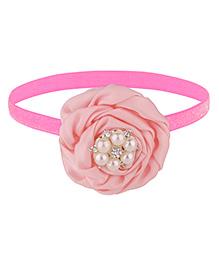 Baby Angel Pearl Flower Elastic Headband - Pink