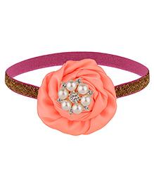 Baby Angel Pearl Flower Elastic Headband - Peach