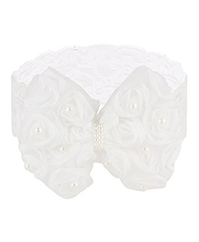 Baby Angel Floral Bow Design Headband - White