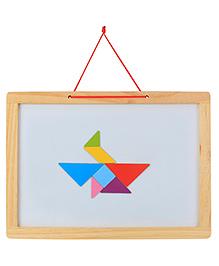 Emob Wooden Frame Double Sided Magnetic Whiteboard & Black Slate - Cream