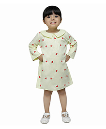 Fablez N Angelz Squirrel Embroidered Peter Pan Collar Dress - Yellow