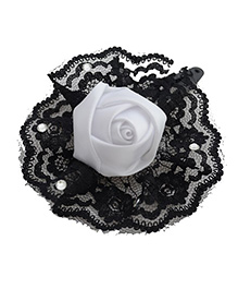 Pretty Ponytails Lace Detailed Flower Tic Tac Hair Clip - Black