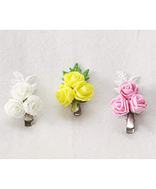Tia Hair Accessories Cluster Roses Hair Clips Set Of 3 - Multicolour