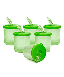 Small Wonder Baby Snack Jar With Dispenser Transparent Pack Of 6 - Green
