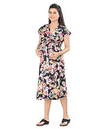 Uzazi Short Sleeves Maternity Dress Floral Print - Black