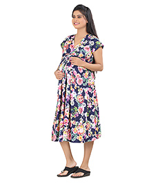 Uzazi Short Sleeves Maternity Dress Floral Print - Navy