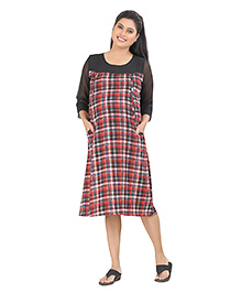 Uzazi Three Fourth Sleeves Maternity Dress Checks Pattern - Red Black