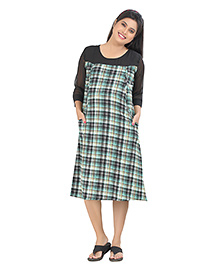 Uzazi Three Fourth Sleeves Maternity Dress Checks Pattern - Green Black