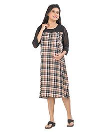 Uzazi Three Fourth Sleeves Maternity Dress Checks Pattern - Peach Black