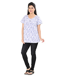 Uzazi Short Sleeves Maternity Top Printed - Lavender