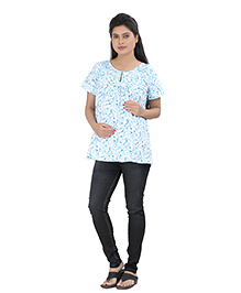 Uzazi Short Sleeves Maternity Top Printed - Blue